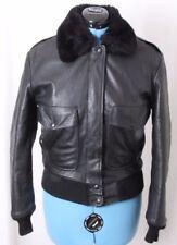 Vtg Oakton A2 Fur Collar Zip Distressed Bomber Flight Jacket Coat Women's M