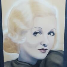 Constance Bennett 1940s Airbrush Painting Lady Elegant Woman Blonde Unsigned
