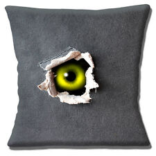 """NEW SCARY GREEN EYE PEEPING OUT OF COVER GREY GREEN 16"""" Pillow Cushion Cover"""