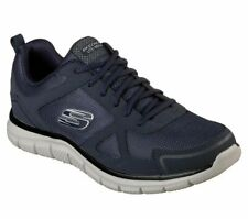 Men's Navy Skechers Shoes Lace Up Memory Foam Sport 52631 Training Mesh Leather