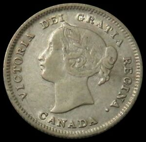 1899 SILVER CANADA 5 CENTS QUEEN VICTORIA COIN EXTREMELY FINE