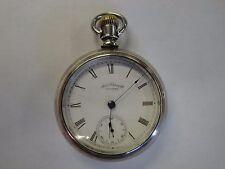 Antique Coin Silver AM Watch Co. Waltham Pocket Watch 18S Railroad Railway