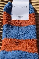 Thought Recycled Polyester Fluffy Stripes Orange Long Calf Length Socks Size 4-7