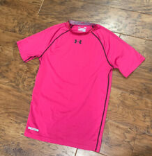 Under Armour Compression Athletic Top Mens L Large Pink Short Sleeve Heat Gear