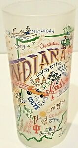 CATSTUDIO NEW Vintage INDIANA Frosted Highball Glasses Barware 2004