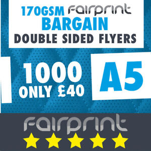 1000 A5 Flyers Leaflets Printed 170gsm Gloss