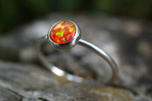 Orange Opal Ring 925 Simple Stacking Ring Handmade ANY SIZE