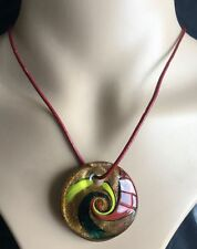 Gold foil Lampwork Glass Pendants round Murano Glass Charms for Necklace
