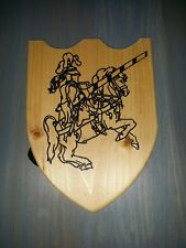 Medieval Wooden Toy Shield with Knight joust horse  Emblem Renaissance Festival