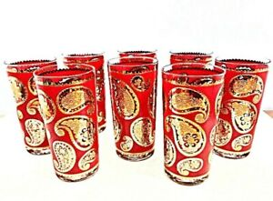 Culver Highball Glasses 8 Red 22KT Gold Gilt Paisley Tumblers Mid Century Modern