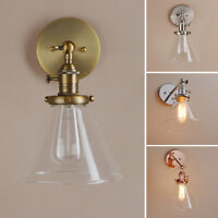 """7.3""""FUNNEL CLEAR GLASS RETRO INDUSTRIAL WALL LAMP SCONCE LOFT UP DOWN WALL LIGHT"""