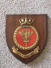 VINTAGE Hand Painted HMS CENTURION Wooden Plaque ~ Shield ~ Royal Navy GC