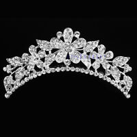 Wedding Bride Rhinestone Crystal Flower Hair Headband Crown Comb Tiara Hair Clip