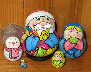 Russian Nesting Dolls MINIATURE Christmas Santa Father Frost Snowman 5 TINY GIFT