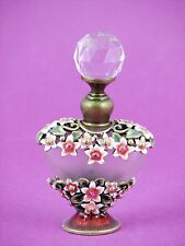 Heart in Pink & White Bejeweled Flowers Perfume Bottle