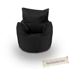 Black Cotton Children's Kids Toddlers Filled Beanchair Bean Bag Chair with Beans
