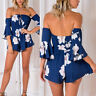 Sexy Women's Floral Off Shoulder Flare Sleeve Romper Summer Short Jumpsuit Beach