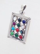925 Sterling Silver Hoshen Pendant Necklace High Priest Breastplate 12 Tribes