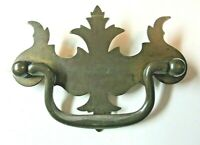 "Drawer 1900 Drop Bail Pull Handle 3"" Centers Dark Aged Brass Steel 1 Chippendale"