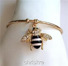 Gold Bumble Bee Bangle Bracelet Adjustable White Enamel Crystal Charm USA Seller