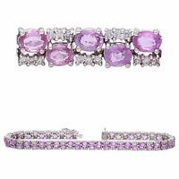 14k White Gold 9.75ctw Pink Sapphire & Diamond Square Link Bracelet
