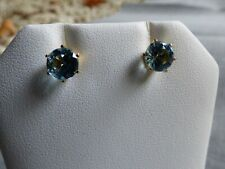 14K Yellow Gold Blue Topaz Stud Earrings, E-1501