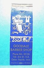 """Goodale"" Barber Shop' Matchbook Cover Only Cedar Rapids, Iowa"