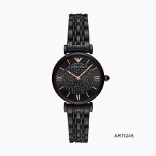 New Emporio Armani AR11245 GIANNI T-BAR Quartz Analog Black Dial Women's Watch