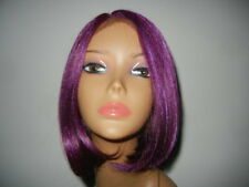 Janet Collection Deep Part synthetic futura lace Front Wig bob  Plum Red