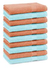 Betz lot de 10 serviettes débarbouillettes Premium: orange & turquoise