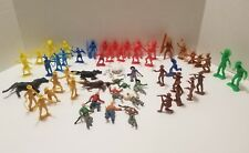 VINTAGE MIXED LOT Of COWBOYS AND INDIANS PLASTIC TOYS 50+ Pieces Tim Mei MPC