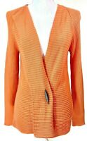 SIGRID OLSEN SPORT Womens Sweater Small Cardigan Orange Silk Cotton Blend Knit