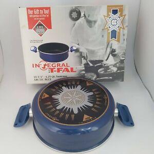 """Rare T-Fal Integral Nonstick 4.25 qt. 10.25"""" Blue Pot Saute Cordon Bleu France"""