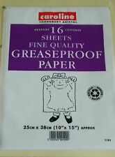"16 SHEETS GREASEPROOF PAPER 10"" x 15"" NEW"