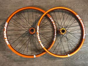 "Spank Spoon 32 26"" 12x150mm 20x110mm DH Mountain Bike Wheelset Orange"