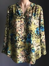 Retro SUZANNE GRAE Multi Colour & Print Long Sleeve Blouse/Top Size 14