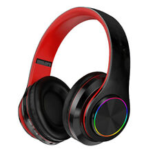 Light-emitting Bluetooth headset with headset bass,black-red