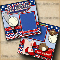 SOFTBALL ~ girl 2 premade scrapbook pages paper piecing layout 4 album DIGISCRAP