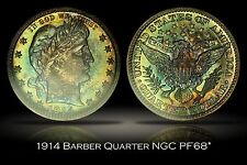 1914 Proof Barber Quarter NGC PF68* Amazing Rainbow Toned Top Pop Star + VIDEO