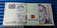 Singapore Portrait Series $2 Notes OSB 573301-573400 Run Stack Dollar Currency