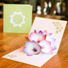 ZK_ KF_ Handmade Flower 3D Pop Up Greeting Card Wedding Birthday Decor XMAS Gi