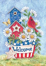 "Patriotic Blooms Spring Garden Flag Welcome Daisies Cardinal 12.5"" x 18"""