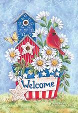 "Patriotic Blooms Spring Garden Flag Welcome Daisies Cardinal 12.5"" x 18"""