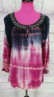 Ali Miles Blouse Size M Womens Pink Blue Tie Dye Embroidered Peasant Stye