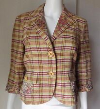 ETRO MILANO YELLOW RED MULTI PLAID & FLORAL PRINT CROPPED JACKET