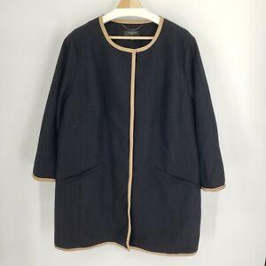New Talbots Woman Mid Length Coat Button Front Black Beige Size 18W Plus Dressy