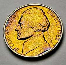 1962-P JEFFERSON NICKEL PROOF UNC BEAUTIFUL BU TONED COLOR GEM GOLDEN (DR)