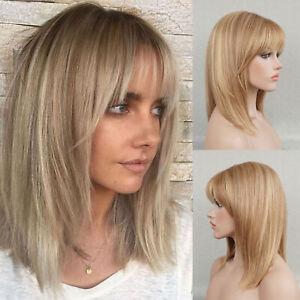 100% Ash Blonde Bob Cut Human Hair Wig for White Women 12 in Medium Length