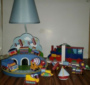 Boys Planes, Trains,& Trucks Table Lamp, Train Bookends, 7 Matching Drawer Pulls