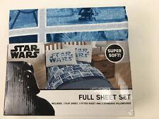 Disney Star Wars Full Sheet Set Super Soft Blue White